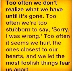 Too often we don't 