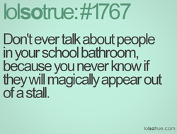 Don't ever talk about people 