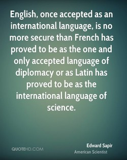 English, once accepted as an 
