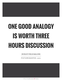 ONE GOOD ANALOGY 