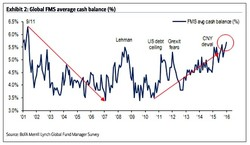 Exhibit 2: Global FMS average cash balance (%) 