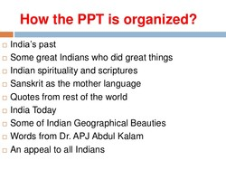 How the PPT is organized? 