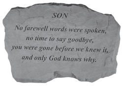 SON No farewell words were spoken, no time to say goodbye, you were gone before we knew it*' and only God knows why.