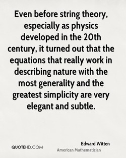 Even before string theory, 