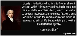 Liberty is to faction what air is to fire, an aliment 