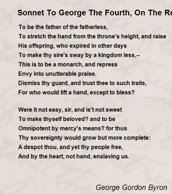 Sonnet To George The Fourth, On The Rc 