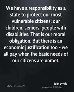 We have a responsibility as a 