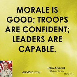 MORALE IS 