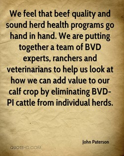 We feel that beef quality and 