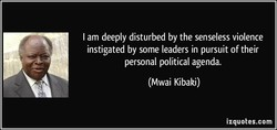 I am deeply disturbed by the senseless violence 