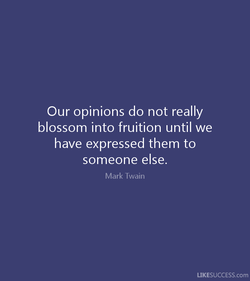 Our opinions do not really 