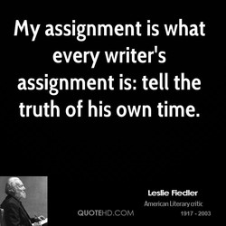 My assignment is what 