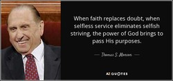 When faith replaces doubt, when 