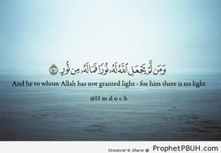 he to whom Allah has not granted light - for him there is no light 