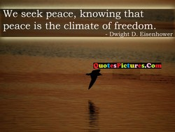 We seek peace, knowing that 