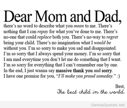 Dear Mom and Dad, 