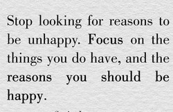 Stop looking for reasons to 
