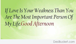 If Love Is Your Weakness Than You Are The Most Important Person Of My Life.Good Afternoon DesiBucket.com