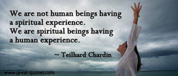 We are not human beings having a spiritual experience. We are spiritual beings having a human experience. Teilhard