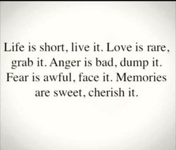 Life is short, live it. Love is rare, 