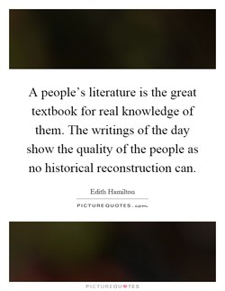 A people's literature is the great 