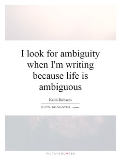 I look for ambiguity 