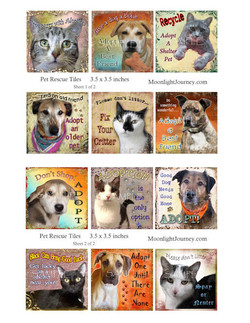 Pet Rescue Tiles 3.5 x 3.5 inches 