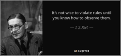 It's not wise to violate rules until 