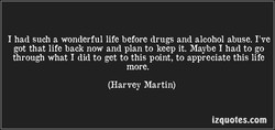 I had such a wonderful life before drugs and alcohol abuse. I've 