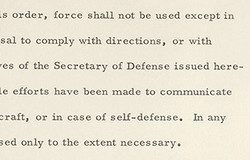 Is order, force shall not be used except in 
