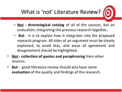 What is 'not' Literature Review? @ 