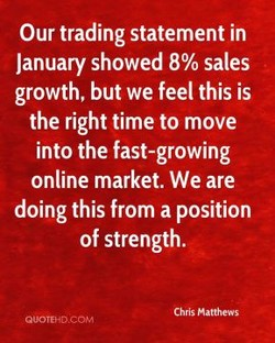 Our trading statement in 