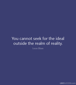 You cannot seek for the ideal 