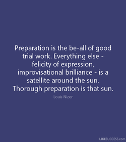 Preparation is the be-all of good 