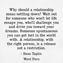 Why should a relationship 