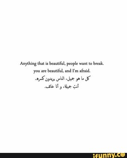Anything that is beautiful, people want to break. 