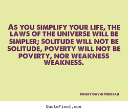 AS YOU SIMPLIFY YOUR LIFE, THE 