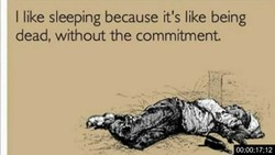 I like sleeping because it's like being 