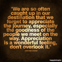 'We are so often caught up in our destination that we forget to appreciate the journey, especially the oodness of the peop e we meet on the way. Appreciation is a wonderful feeling, dont overlook it.