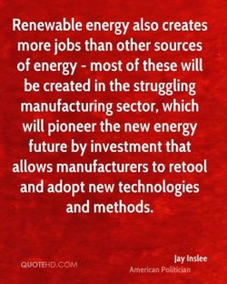 Renewable energy also creates 