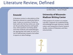 Literature Review, Defined 