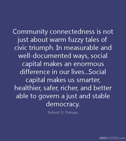 Community connectedness is not 