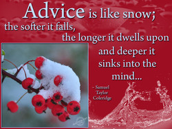 Advice is like snow; 