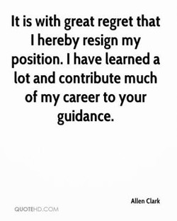 It is with great regret that 
