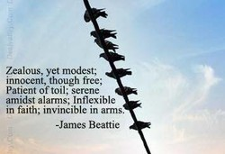 Zealous, yet modest; 