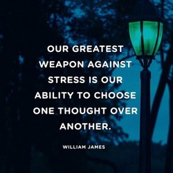 OUR GAEATEST WEAPON AGAINST STRESS IS OUR ABILITY TO CHOOSE ONE THOUGHT OVER ANOTHER. WILLIAM JAMES