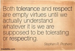 Both tolerance and respect 