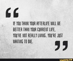 IF YOU THINK YOUR AFTERLIFE BE 