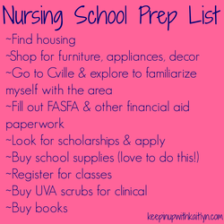 Nursing School Prep List 