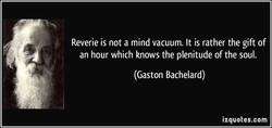 Reverie is not a mind vacuum. It is rather the gift of 